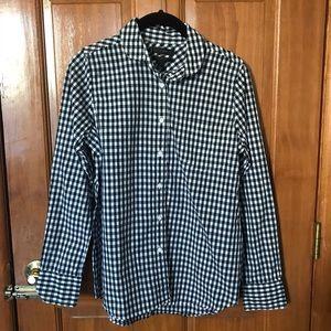 JCrew women's gingham shirt.